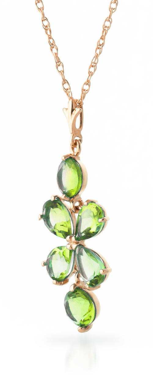Peridot Blossom Pendant Necklace 3.15ctw in 14K Rose Gold