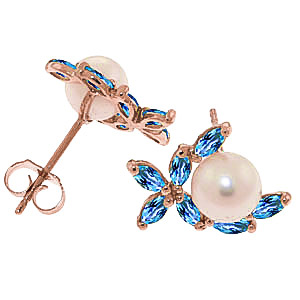 Pearl and Blue Topaz Ivy Stud Earrings 3.25ctw in 14K Rose Gold