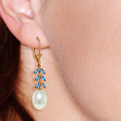 Pearl and Blue Topaz Drop Earrings 9.2ctw in 14K Rose Gold