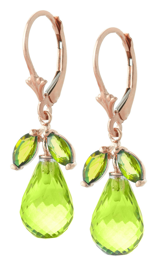 Peridot and Blue Topaz Drop Earrings 14.4ctw in 14K Rose Gold