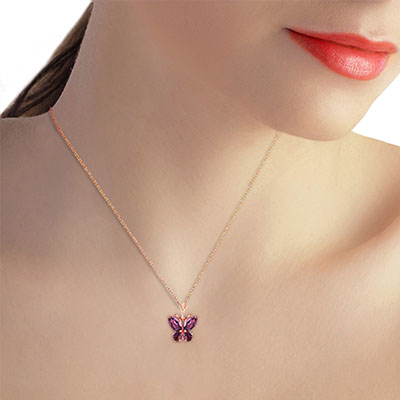 Amethyst Butterfly Pendant Necklace 0.6ctw in 14K Rose Gold