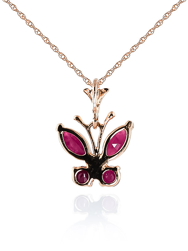 Ruby Butterfly Pendant Necklace 0.6ctw in 9ct Rose Gold