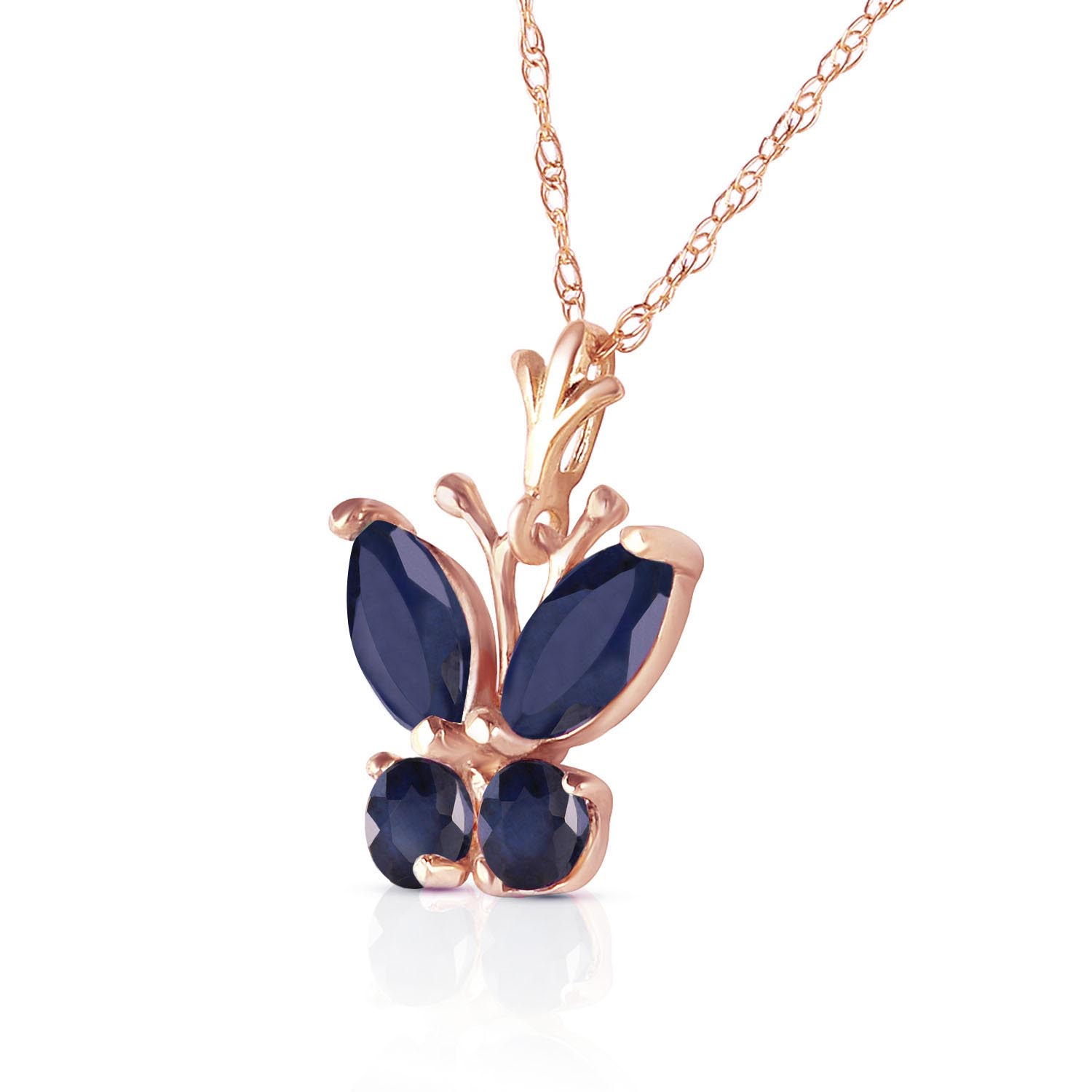 Sapphire Butterfly Pendant Necklace 0.6ctw in 9ct Rose Gold