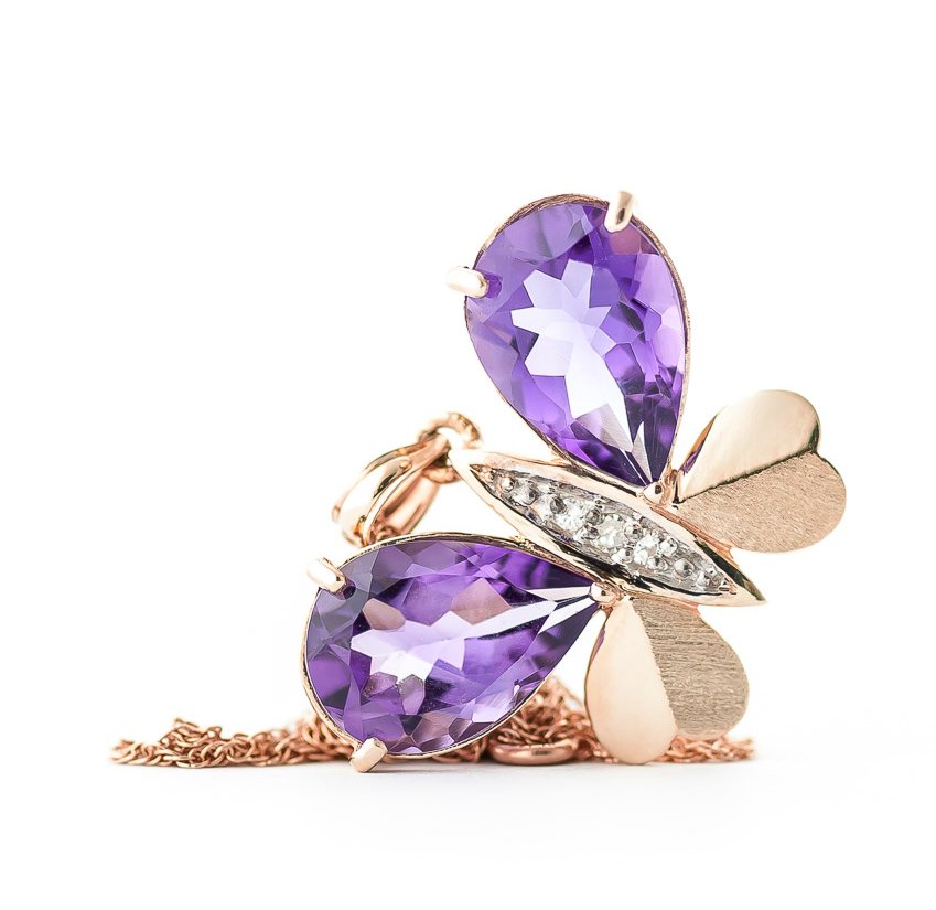 Amethyst and Diamond Butterfly Pendant Necklace 6.5ctw in 9ct Rose Gold