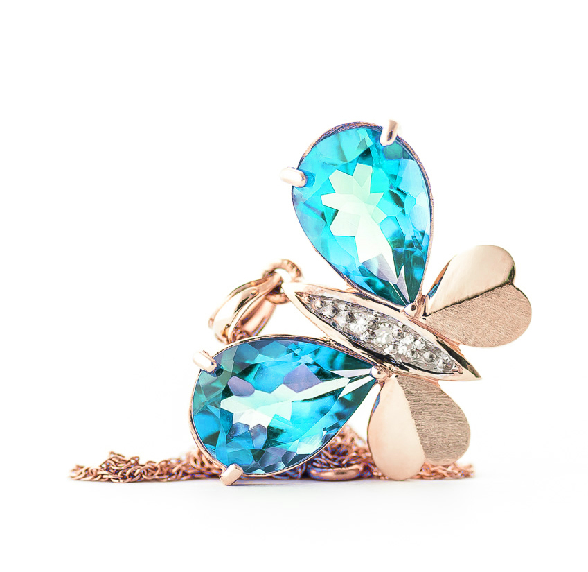 Blue Topaz and Diamond Butterfly Pendant Necklace 9.0ctw in 9ct Rose Gold