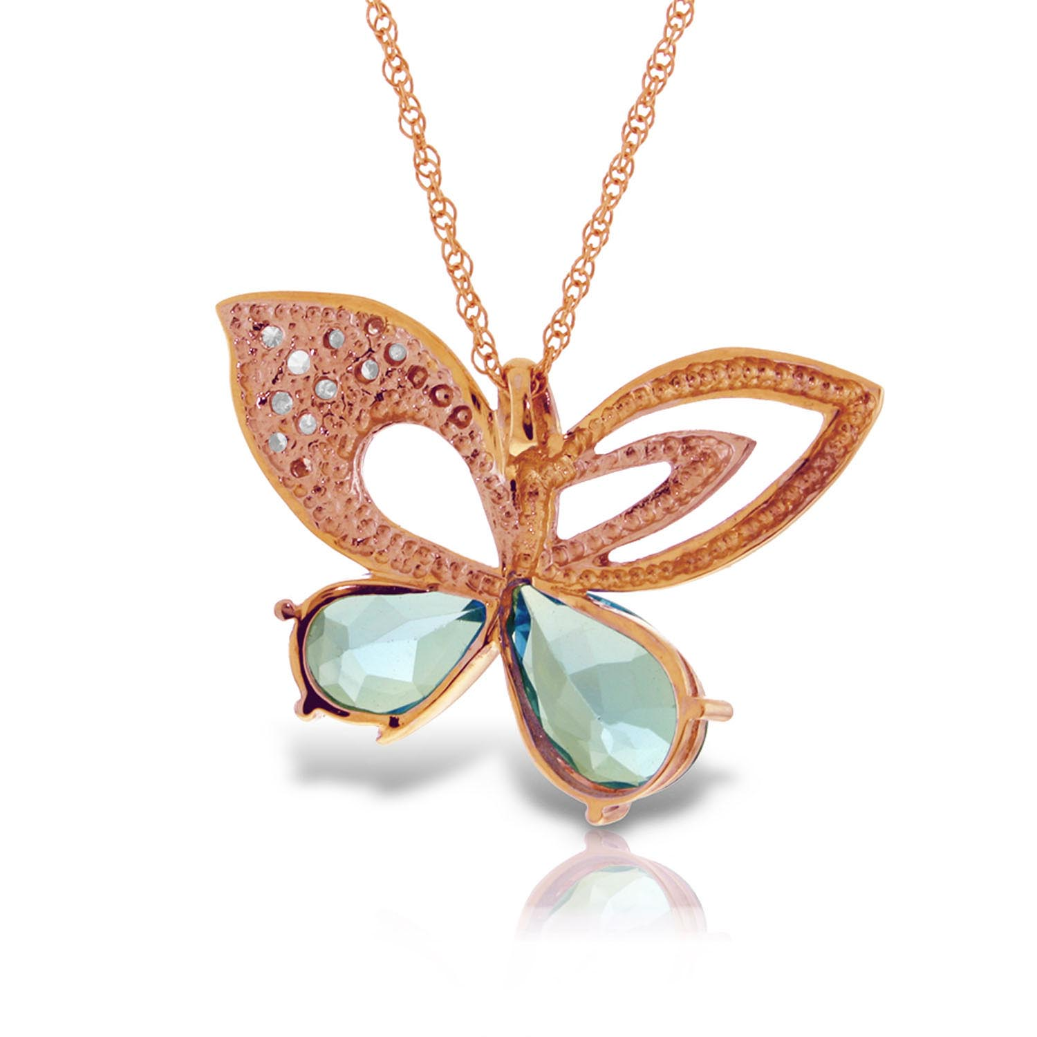Blue Topaz and Diamond Butterfly Pendant Necklace 4.0ctw in 9ct Rose Gold