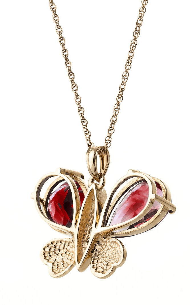Garnet and Diamond Butterfly Pendant Necklace 7.0ctw in 14K Rose Gold