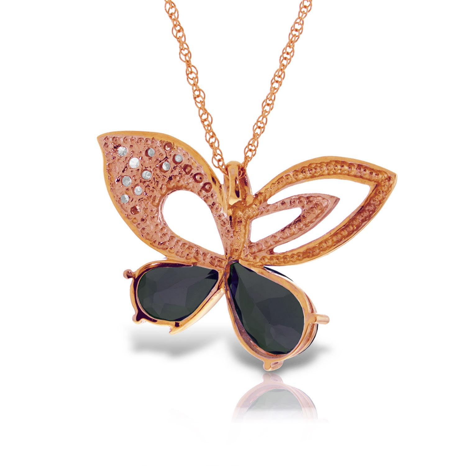 Sapphire and Diamond Butterfly Pendant Necklace 4.2ctw in 14K Rose Gold