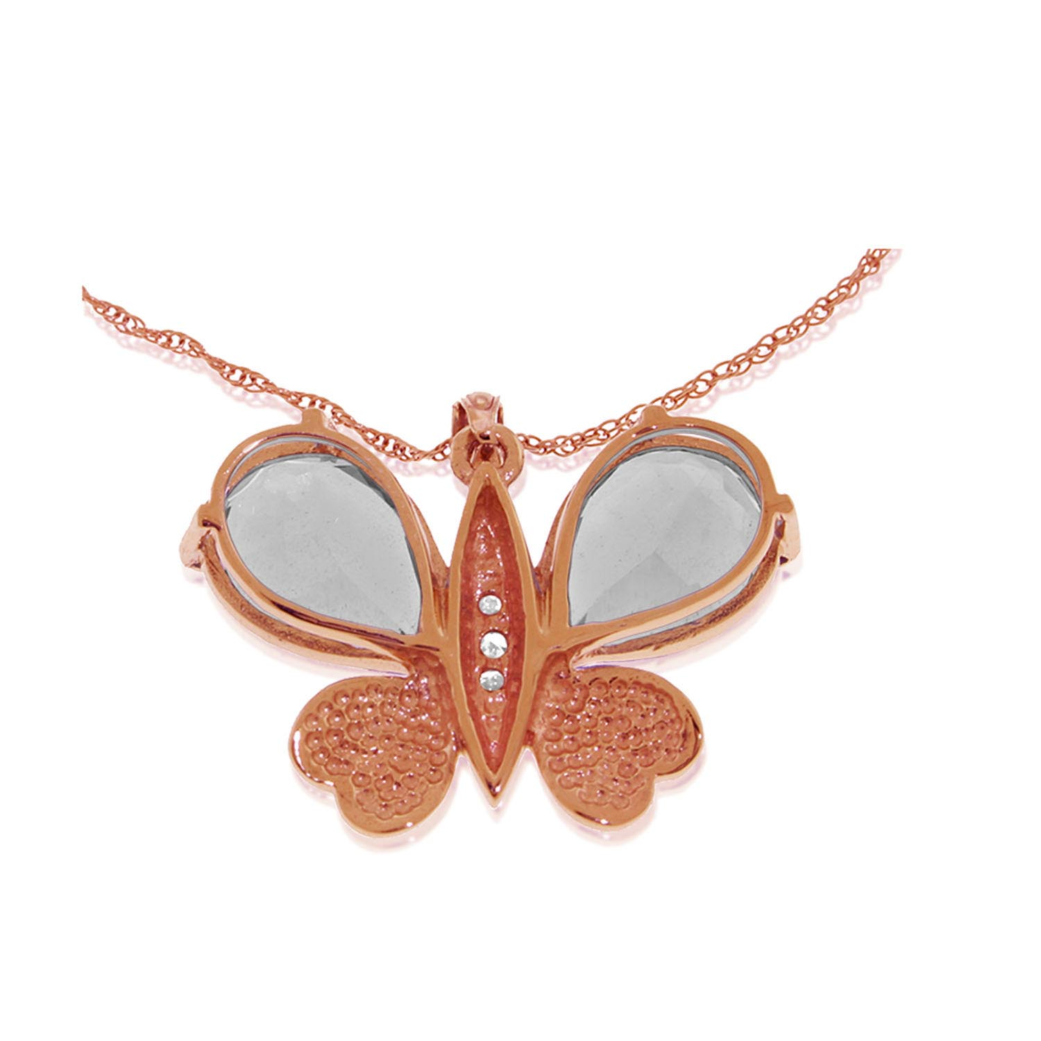 White Topaz and Diamond Butterfly Pendant Necklace 11.0ctw in 14K Rose Gold