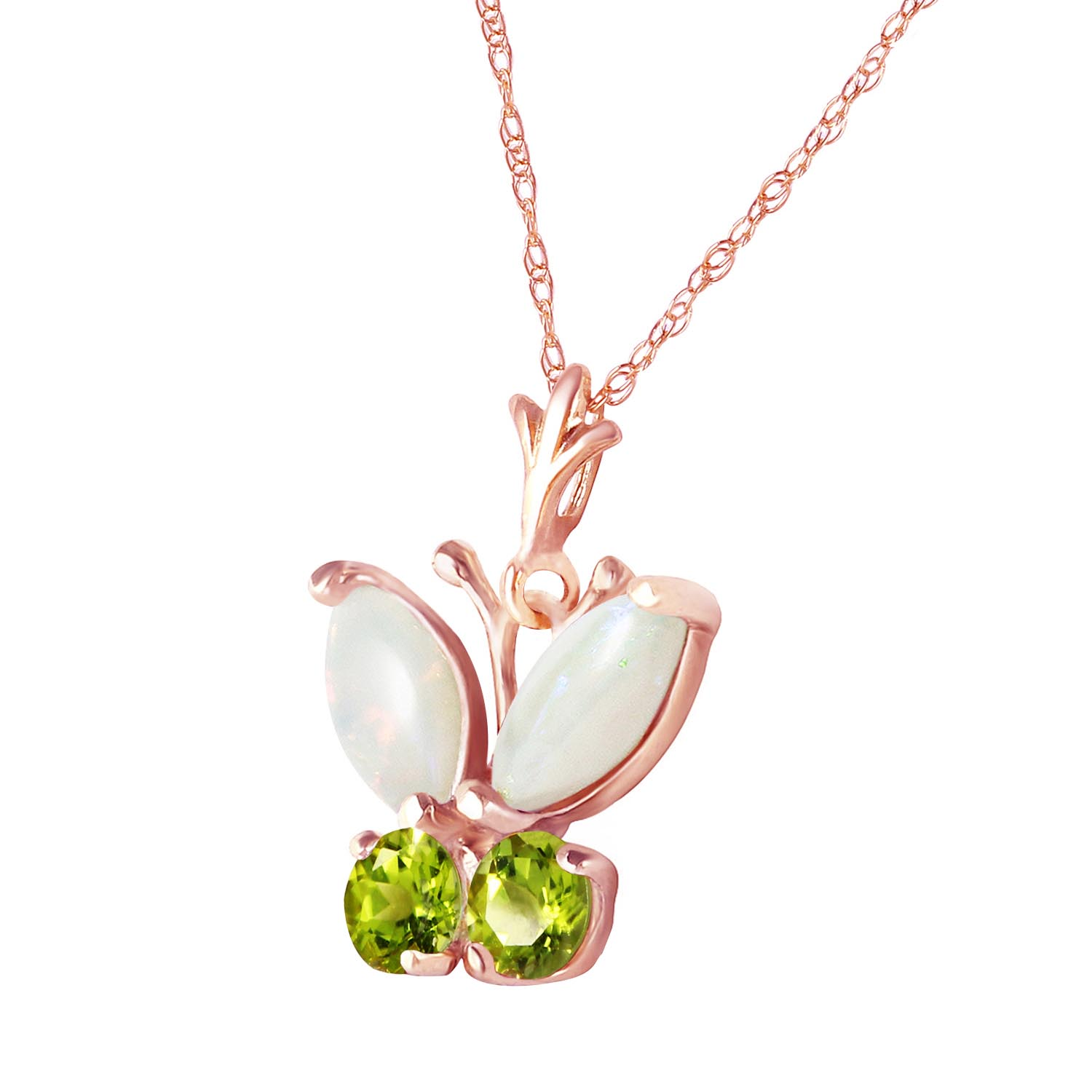Opal and Peridot Butterfly Pendant Necklace 0.7ctw in 14K Rose Gold