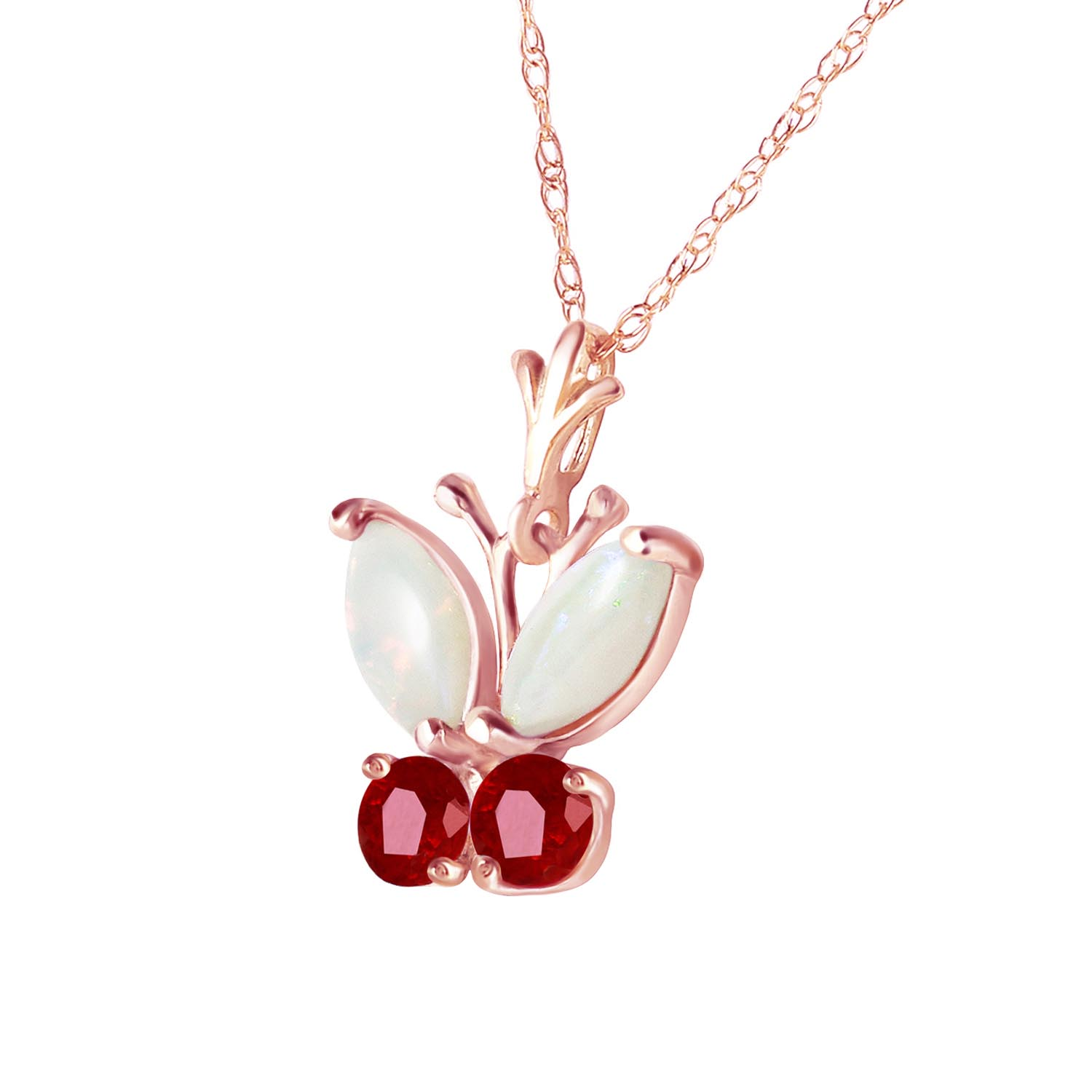 Opal and Ruby Butterfly Pendant Necklace 0.7ctw in 9ct Rose Gold
