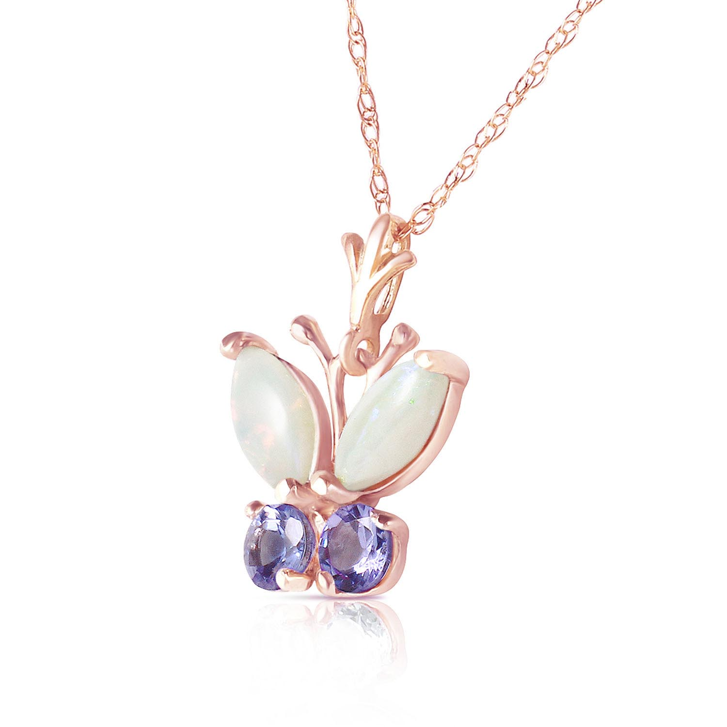 Opal and Tanzanite Butterfly Pendant Necklace 0.5ctw in 14K Rose Gold