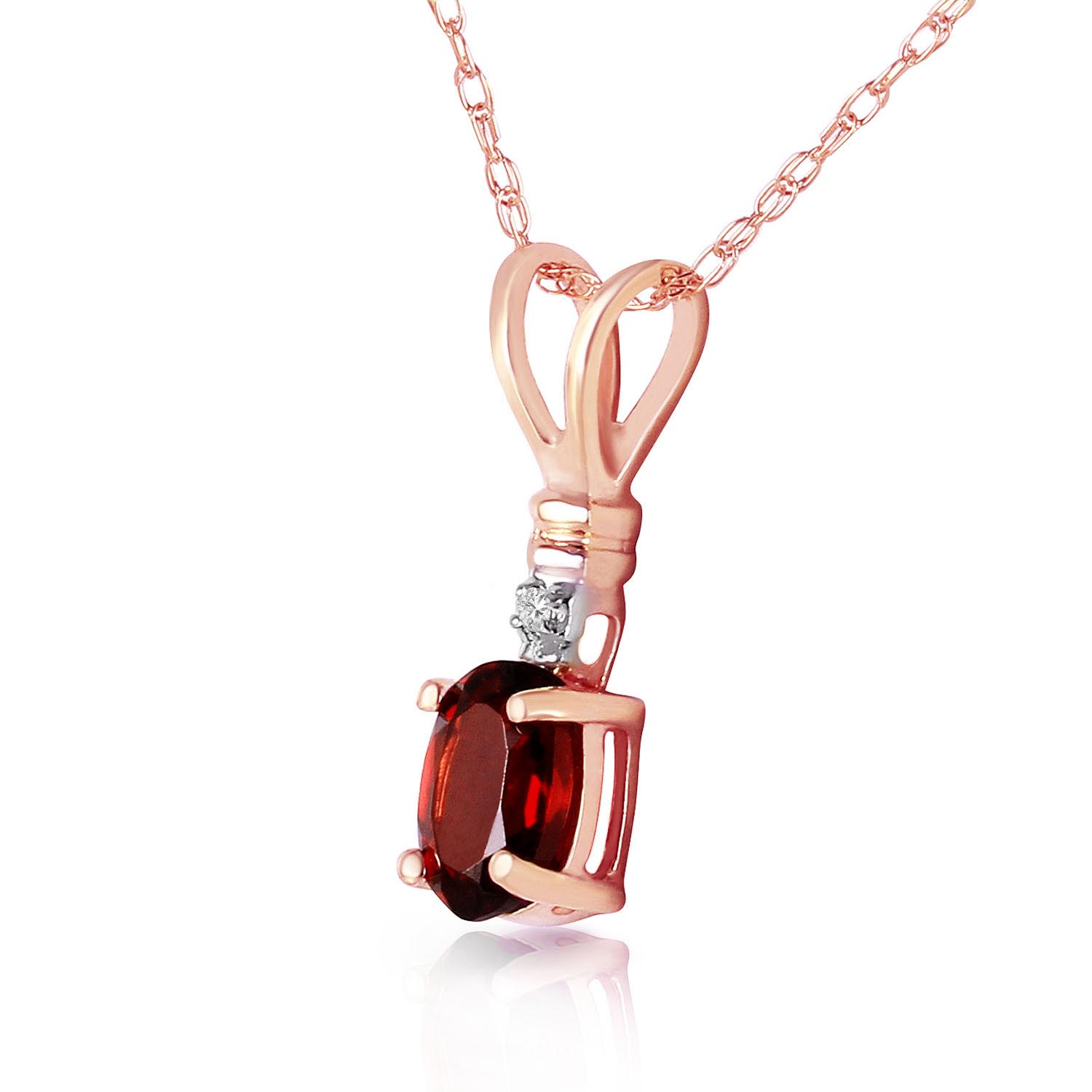Garnet and Diamond Pendant Necklace 0.45ct in 14K Rose Gold