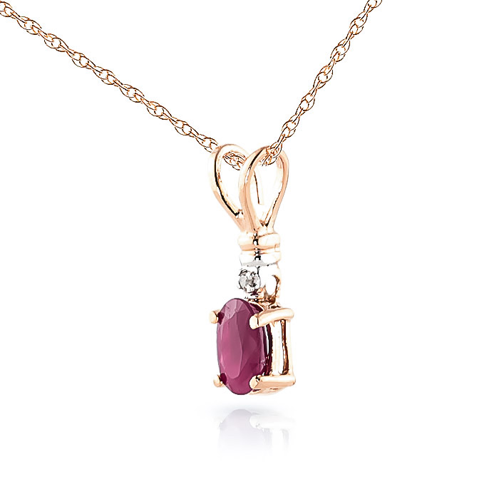 Ruby and Diamond Pendant Necklace 0.45ct in 14K Rose Gold