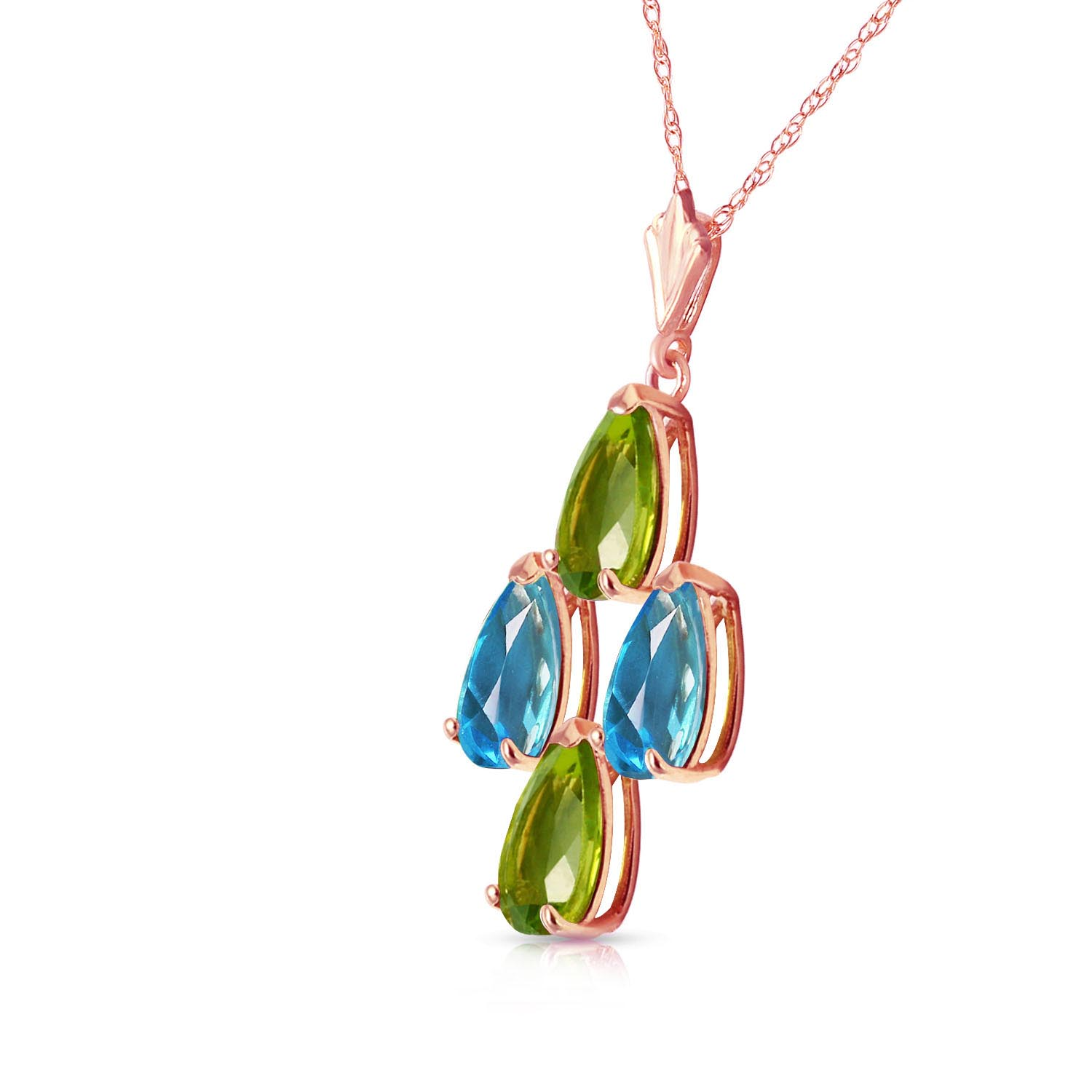 Peridot and Blue Topaz Pendant Necklace 1.5ctw in 14K Rose Gold