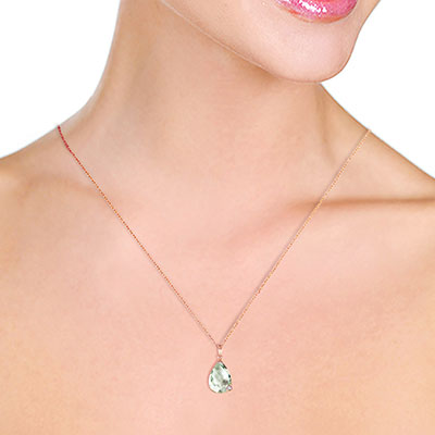 Green Amethyst and Diamond Chequer Pendant Necklace 5.0ct in 14K Rose Gold