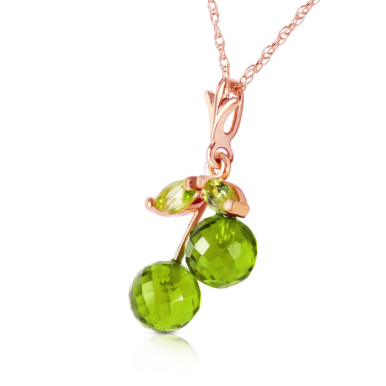 Peridot Cherry Drop Pendant Necklace 1.45ctw in 14K Rose Gold