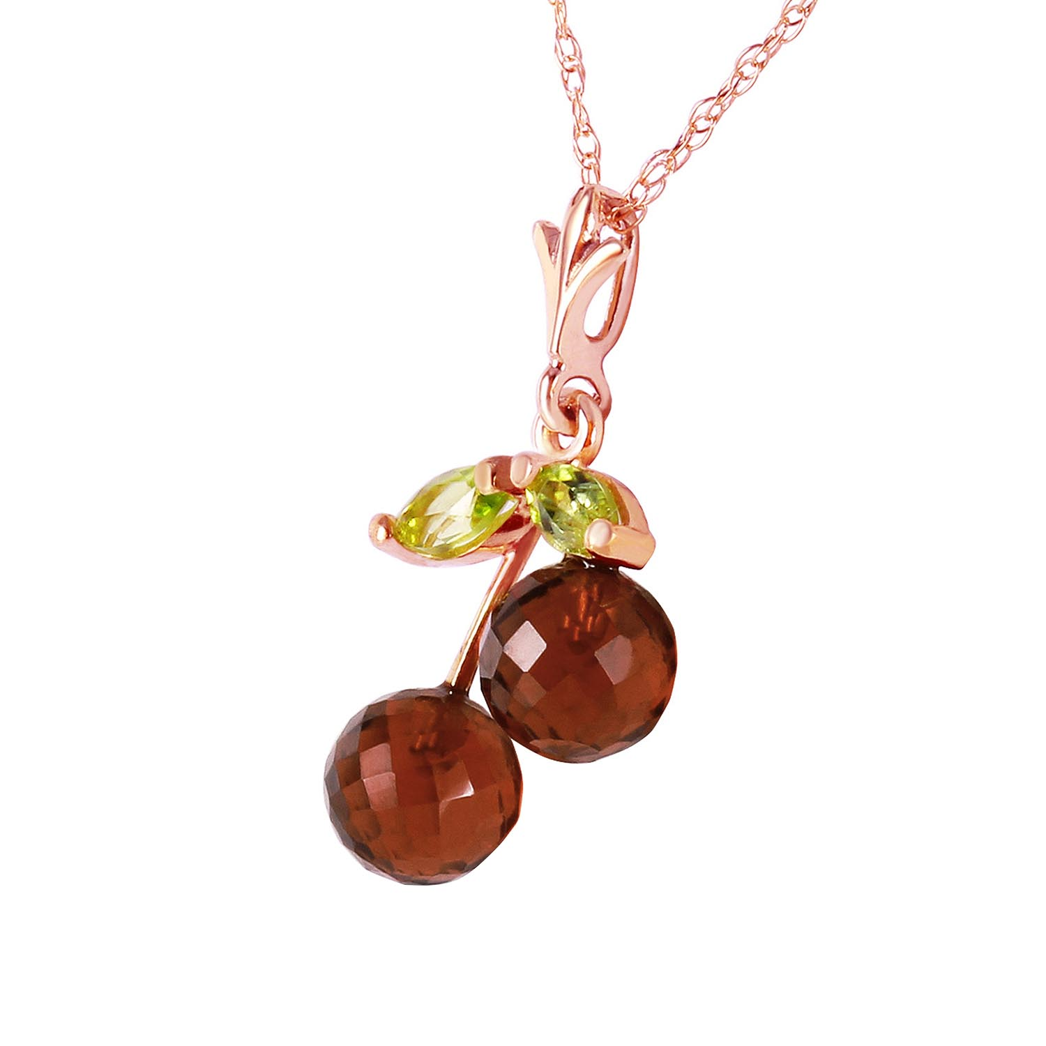 Garnet and Peridot Cherry Drop Pendant Necklace 1.45ctw in 14K Rose Gold