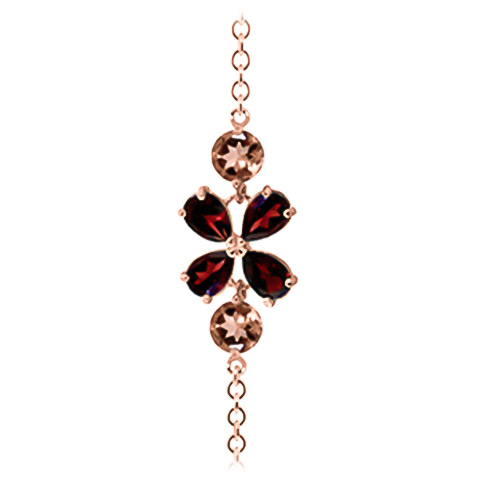 Garnet and Citrine Adjustable Bracelet 3.15ctw in 14K Rose Gold