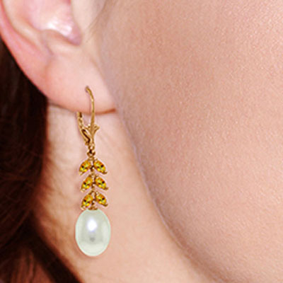 Pearl and Citrine Drop Earrings 9.2ctw in 14K Rose Gold