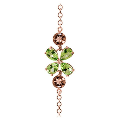 Peridot and Citrine Adjustable Bracelet 3.15ctw in 14K Rose Gold
