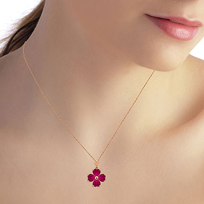 Ruby Four Leaf Clover Heart Pendant Necklace 3.6ctw in 9ct Rose Gold