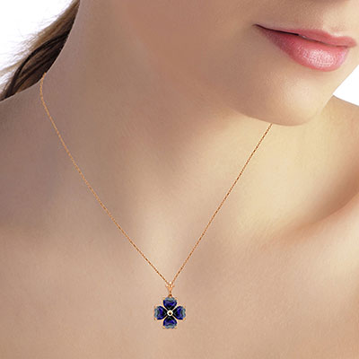 Sapphire Four Leaf Clover Heart Pendant Necklace 3.6ctw in 9ct Rose Gold