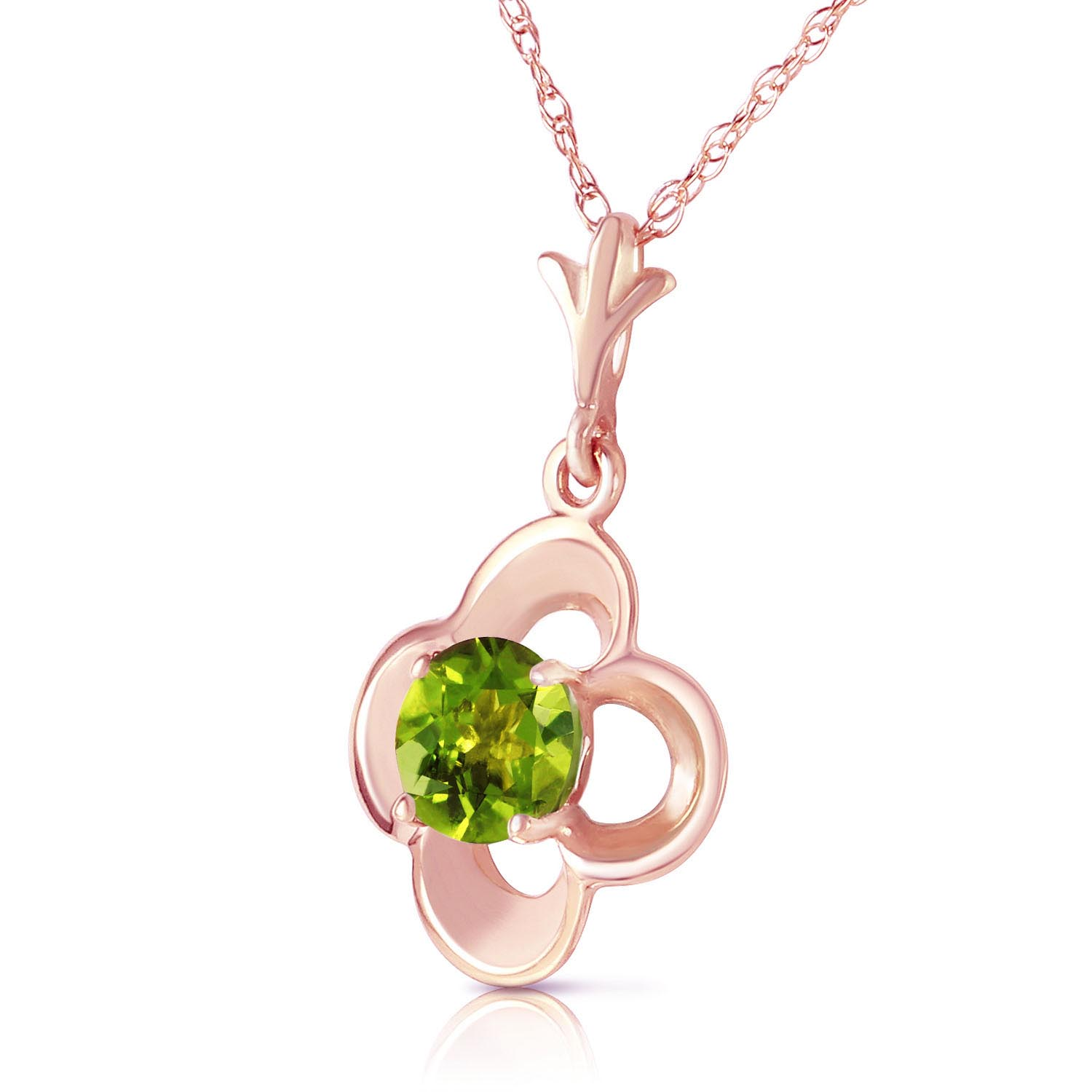 Peridot Corona Pendant Necklace 0.55ct in 14K Rose Gold
