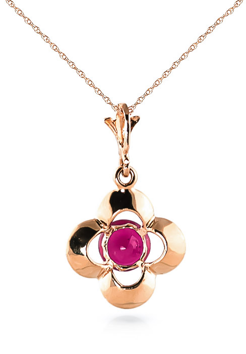 Ruby Corona Pendant Necklace 0.55ct in 14K Rose Gold