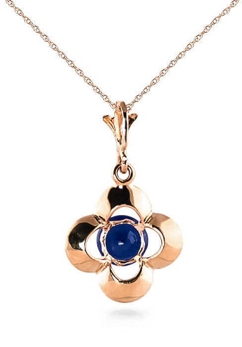 Sapphire Corona Pendant Necklace 0.55ct in 9ct Rose Gold