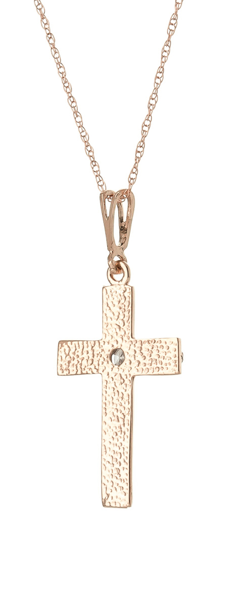 Diamond Cross Pendant Necklace in 14K Rose Gold