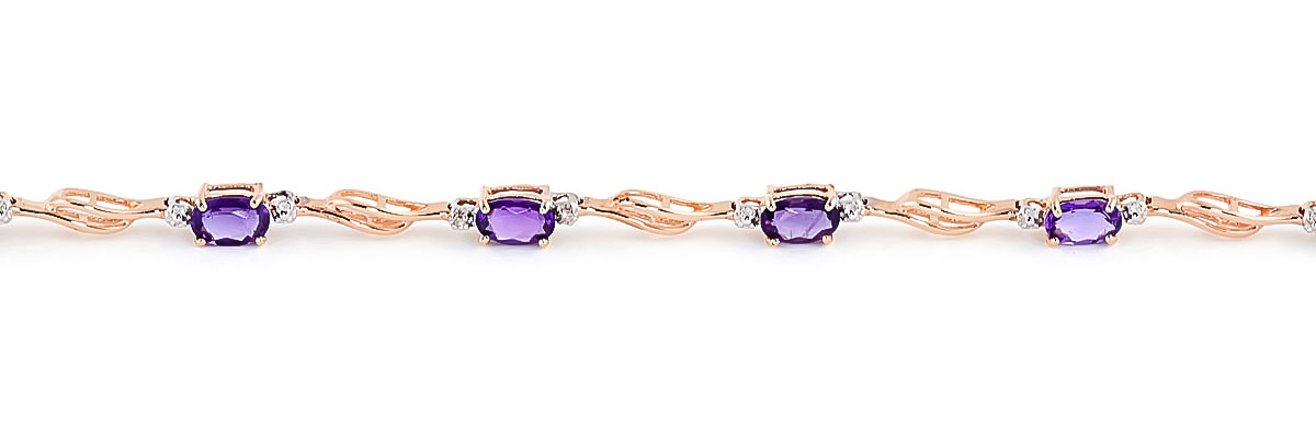 Amethyst and Diamond Classic Tennis Bracelet 2.95ctw in 9ct Rose Gold