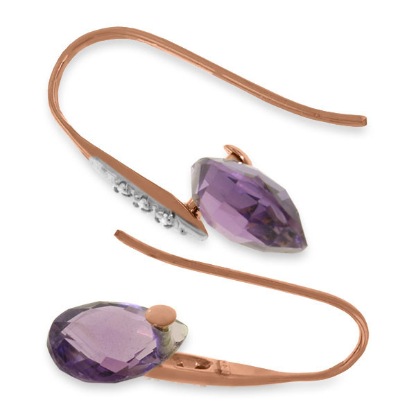 Amethyst and Diamond Drop Earrings 6.0ctw in 9ct Rose Gold