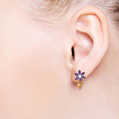 Amethyst and Diamond Flower Petal Drop Earrings 1.0ctw in 14K Rose Gold