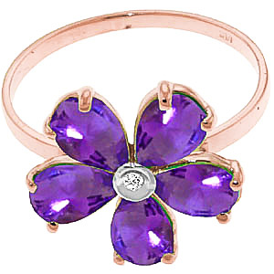 Amethyst and Diamond Five Petal Ring 2.2ctw in 9ct Rose Gold