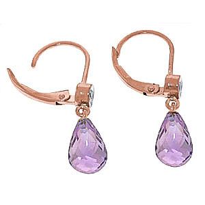 Amethyst and Diamond Illusion Drop Earrings 4.5ctw in 14K Rose Gold