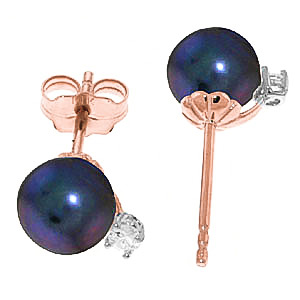 Black Pearl and Diamond Stud Earrings 4.0ctw in 14K Rose Gold