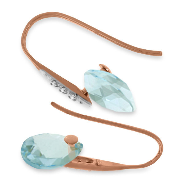 Blue Topaz and Diamond Drop Earrings 6.0ctw in 14K Rose Gold