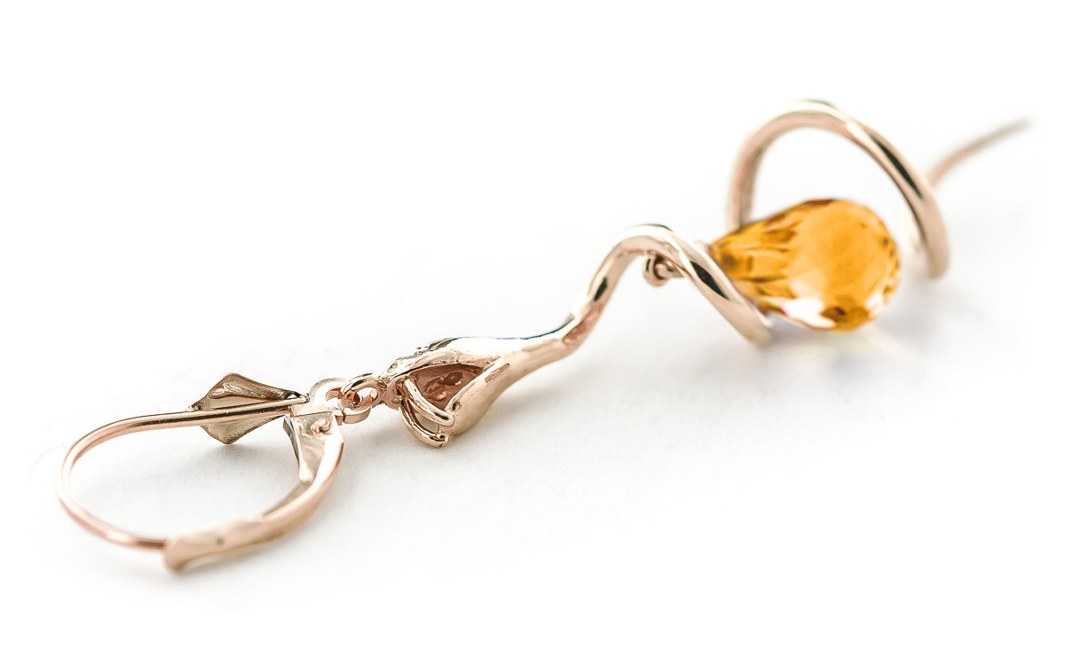 Citrine and Diamond Serpent Earrings 4.5ctw in 9ct Rose Gold