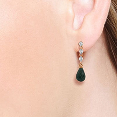 Emerald and Diamond Chain Droplet Earrings 6.6ctw in 14K Rose Gold