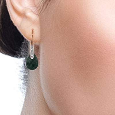 Emerald and Diamond Drop Earrings 8.0ctw in 14K Rose Gold