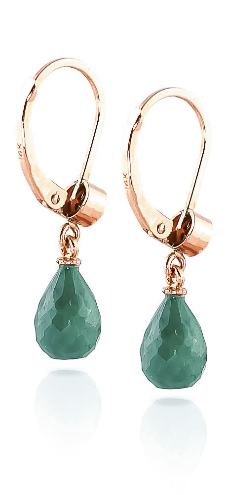 Emerald and Diamond Illusion Drop Earrings 6.6ctw in 9ct Rose Gold