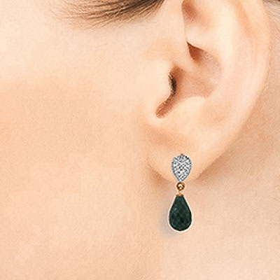 Emerald and Diamond Droplet Earrings 6.6ctw in 14K Rose Gold