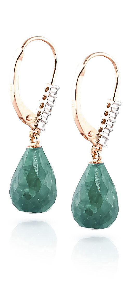 Emerald and Diamond Stem Drop Earrings 8.8ctw in 14K Rose Gold