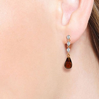 Garnet and Diamond Chain Droplet Earrings 3.0ctw in 14K Rose Gold
