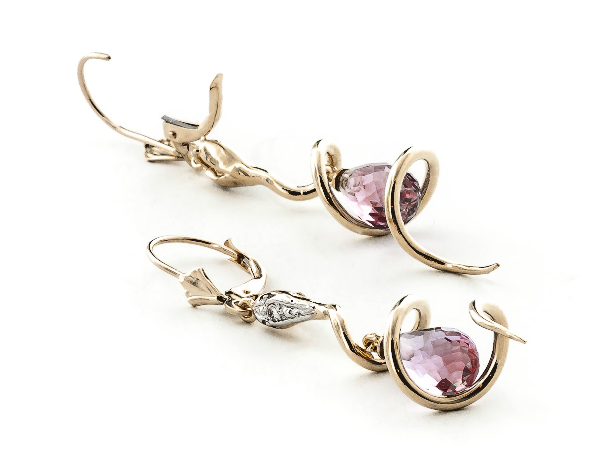 Garnet and Diamond Serpent Earrings 4.5ctw in 9ct Rose Gold