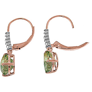 Green Amethyst and Diamond Belle Drop Earrings 3.0ctw in 9ct Rose Gold