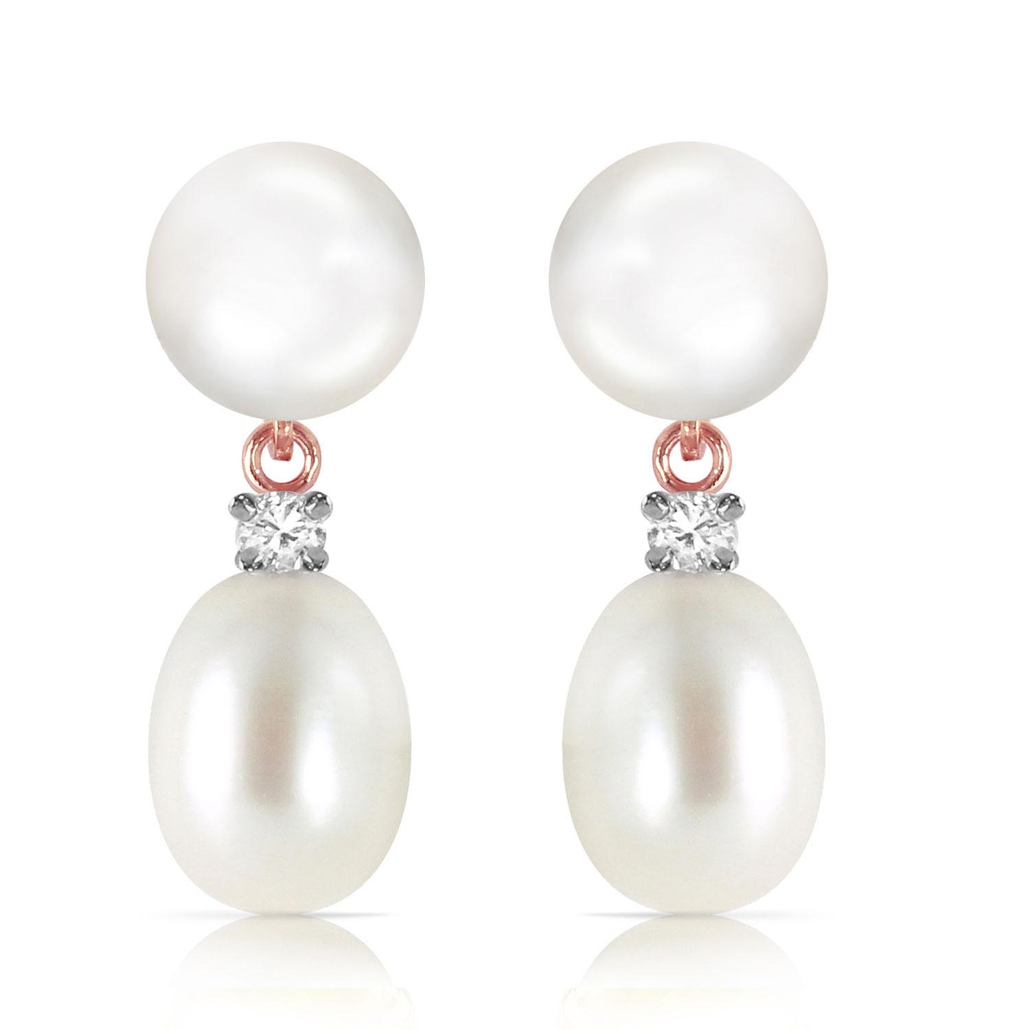 Pearl and Diamond Stud Earrings 10.0ctw in 14K Rose Gold