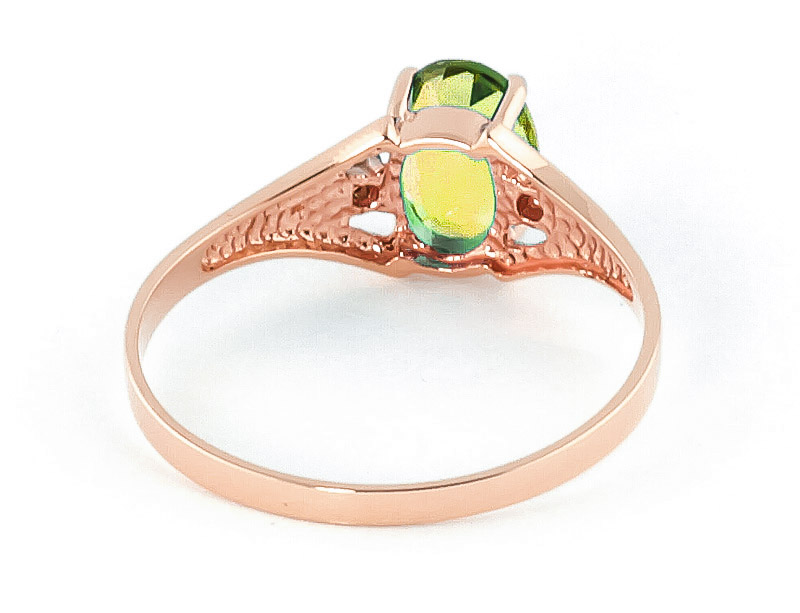 Peridot and Diamond Desire Ring 0.75ct in 14K Rose Gold