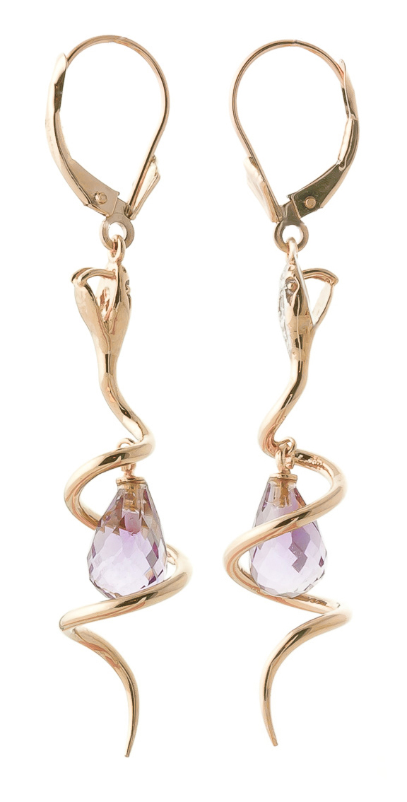 Pink Topaz and Diamond Serpent Earrings 4.5ctw in 14K Rose Gold
